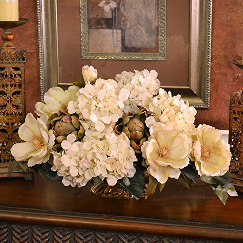 Cream Magnolia and Hydrangea Silk Floral Centerpiece (Floral Dining Room Arrangements)