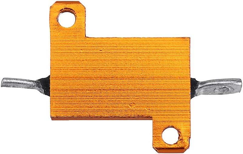 BliliDIY 3Pcs Rx24 10W 10R 10Rj Metal Aluminum Case High Power Resistor Golden Metal Shell Case Heatsink Resistance Resistor