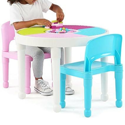 Kids Activity Table Set 3 In 1 Toddler Lego Activity Table Set Chair Preschool  Activities Childrens