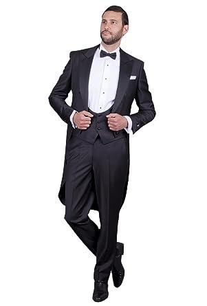 Costume Queue de Pie de Morue Homme Mariage Cérémonie 2018 Couleur Unie  Noir 3 Pièces Veste Pantalons Ceinture  Amazon.fr  Vêtements et accessoires 30e4b6c35f6
