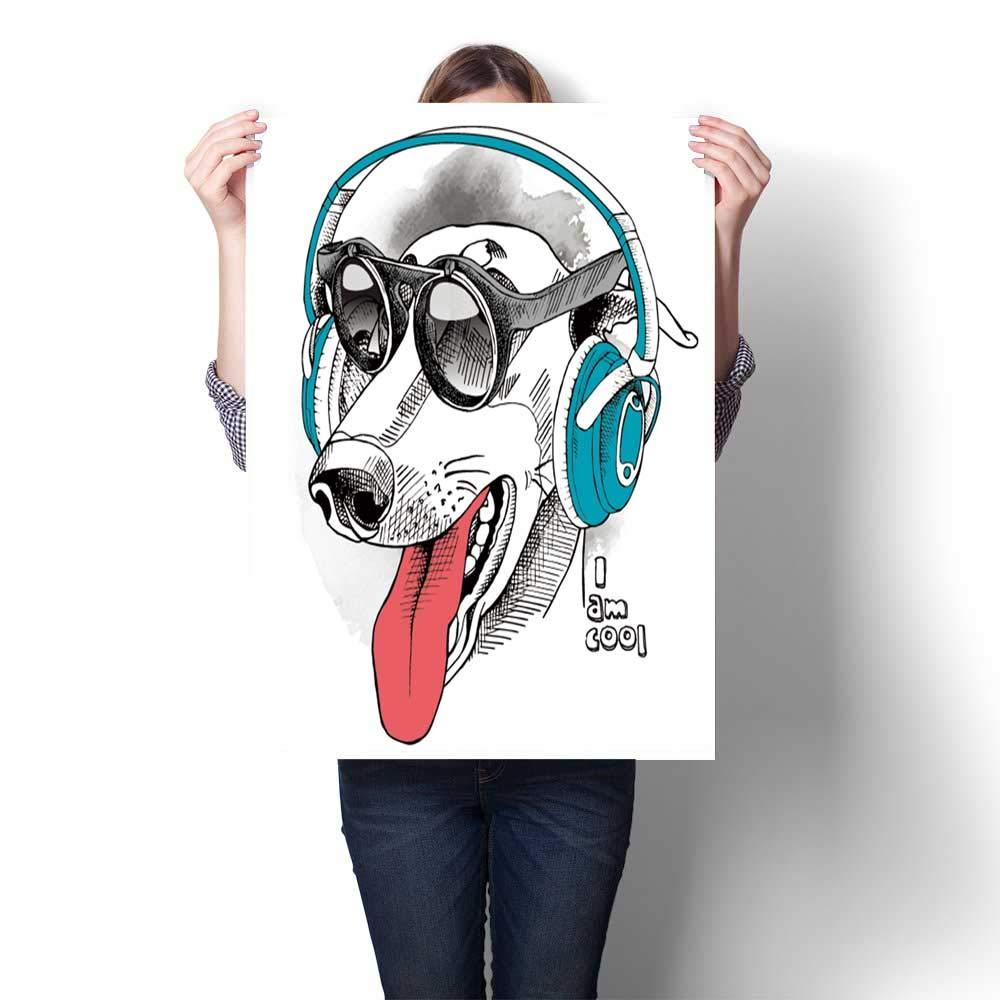 Moderna pintura retrato perro galgo llevar auriculares ...