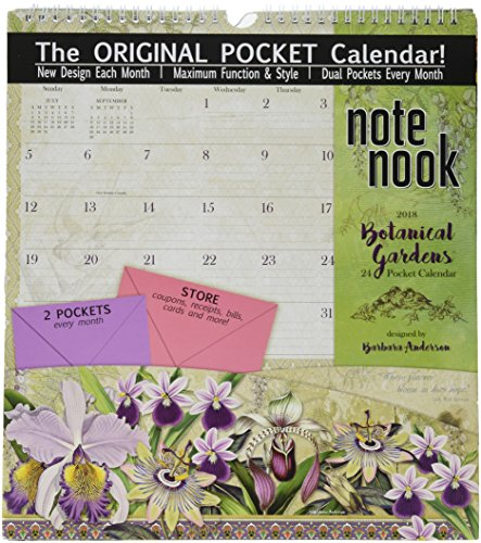 "Wells Street by LANG - 2018 Note Nook Wall Calendar - ""Botanical Gardens"" Artwork by Barbara Anderson - 12 Month Pocket Calendar, 11.75"" x 13.25"""