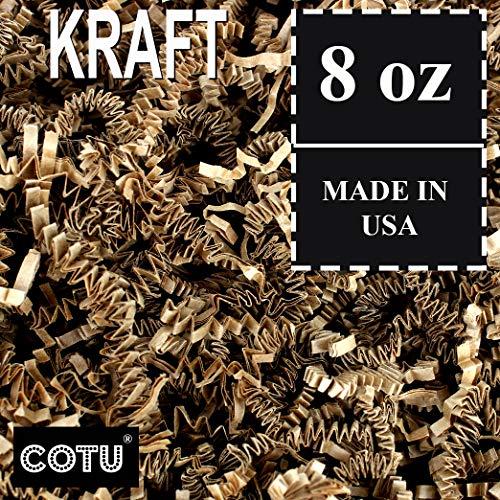 (1/2 LB Natural Tan Kraft Crinkle Shred Gift Basket Shred Crinkle Paper Filler Bedding by COTU (8 oz))