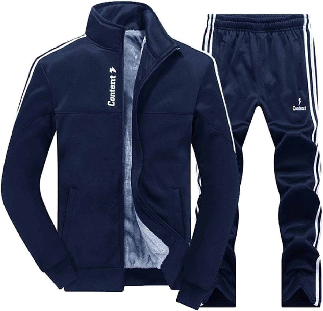 Comaba Mens Suede Thickening Outdoor Oversize Sweatshirt Pants Set