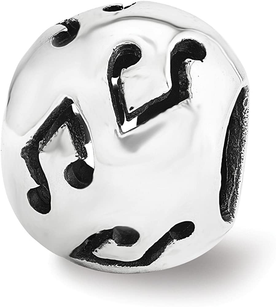 Jewelry Beads Themed Sterling Silver Reflections Cutout Music Note Bead