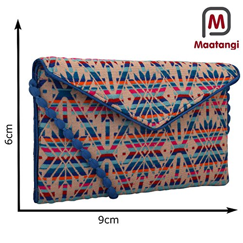 Blue Fabric Handbags - Handloom and Jacquard Fabric Evening Bag Clutch Purses for Women Color Sky Blue