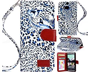 HTC One M8 case, HTC One M8 Leather case, Leopard Wallet PU Leather Case Flip Cover Built-in Card Slots & Stand for HTC One M8