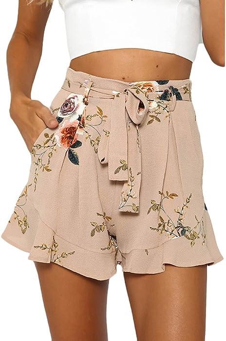 fbb7bb5b282 Vovotrade Femmes Sexy Jupe été Imprimé Pantalon Court Lotus Bord (Size S