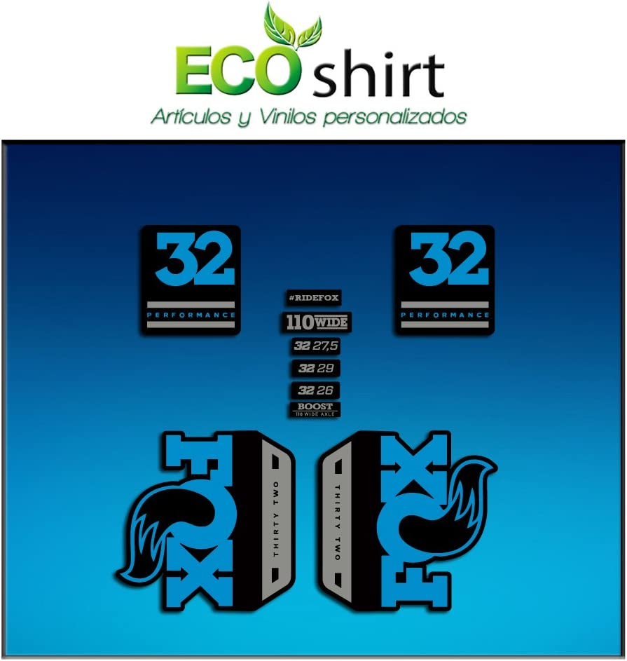 Blue Grey Ecoshirt HI-8YJT-KTL5 Stickers Fork Fox 32 Performance Elite 2017 Am90 Aufkleber Decals Autocollants Adesivi Forcela Gabel Fourche