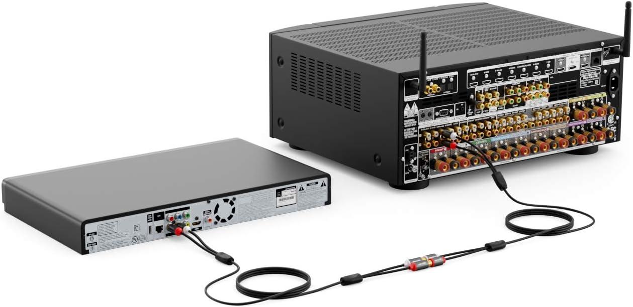 deleyCON 3m Cinch Extensi/ón Cable Audio Alta Fidelidad RCA Cable de Audio Extensi/ón Conector de Metal Dorado para Amplificador Sistema Est/éreo Cine en Casa Reproductor Extra Fino y Flexible