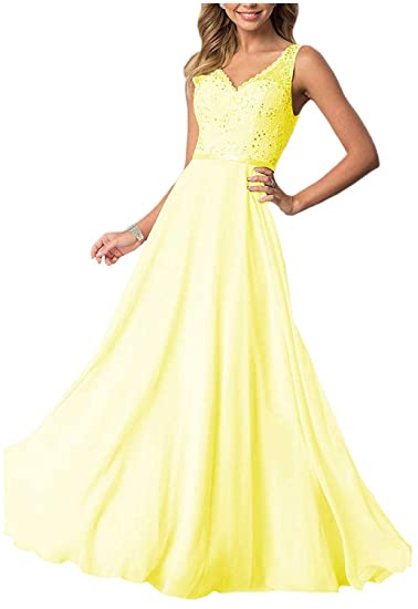 e9621853efc48 Lace Prom Dresses Long Chiffon A-line V-Neck Bridesmaid Formal Dress for  Women 2019