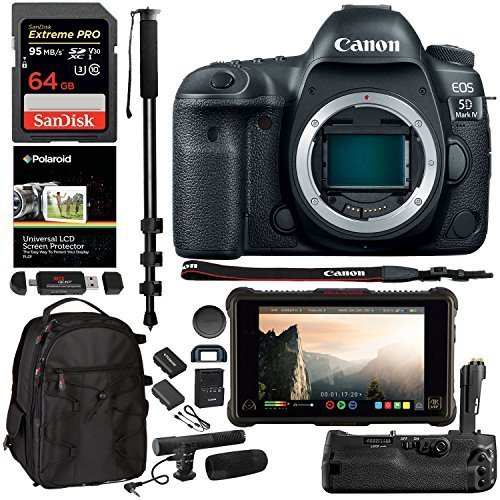 CanonEOS 5D Mark IV DSLR Camera with Canon Log (Body Only), Atomos Ninja Inferno 7 in. 4K Monitor, SanDisk 64 GB Memory Card, 5D IV Grip, 72″ Monopod, Camera Bag, Microphone, and Accessory Bundle For Sale