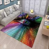 Eye Girls Bedroom Rug Abstract and Vibrant Colored Shape with Optical Illusion Effect Psychedelic Inspiration Bath Mats for Floors Multicolor