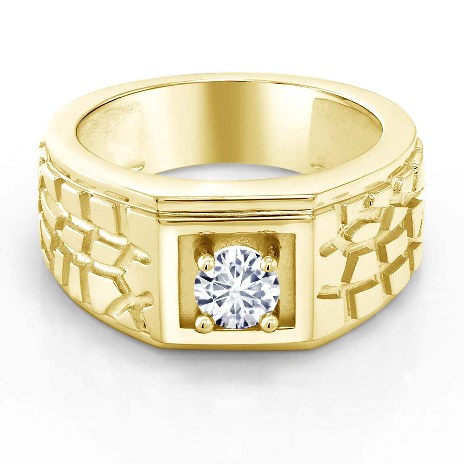 TrioStar Womens 14K Yellow Gold Plated 0.07Ct Diamond Studded Nose Pin Ring
