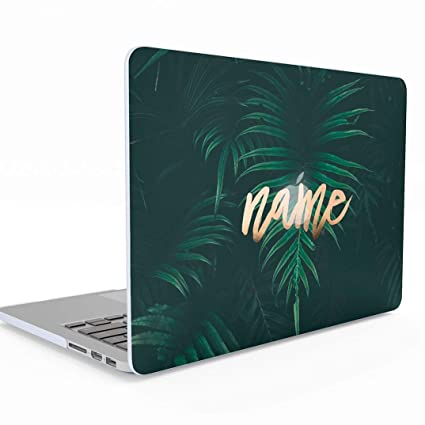 Personalised Custom Design Green Tropical Jungle Palm Leaf Personalized Text Name or Surname MacBook Pro 13 Inch Case Retina Display NO CD-ROM Model: ...