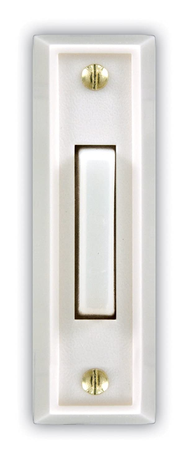 Heath Zenith SL 715 1 02 Wired Door Chime Push Button White with White Lighted Center Bar