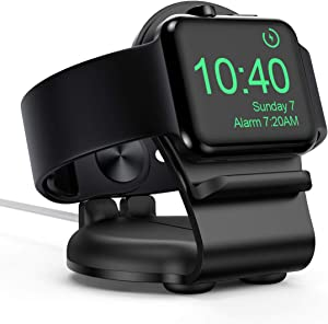Stand for Apple Watch HoRiMe Upgraded Aluminum Alloy Charger Stand Dock with Night Stand Mode for Series 5 / Series 4 / Series 3/2 / 1 (44mm, 42mm, 40mm, 38mm) - Black