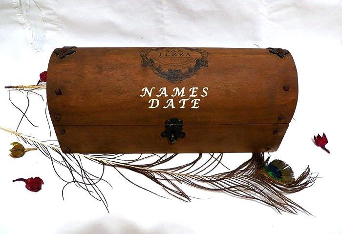 Nombres Boda Caja Vino, Caja Boda Vintage, Regalo Boda Caja Vino, Caja Vino