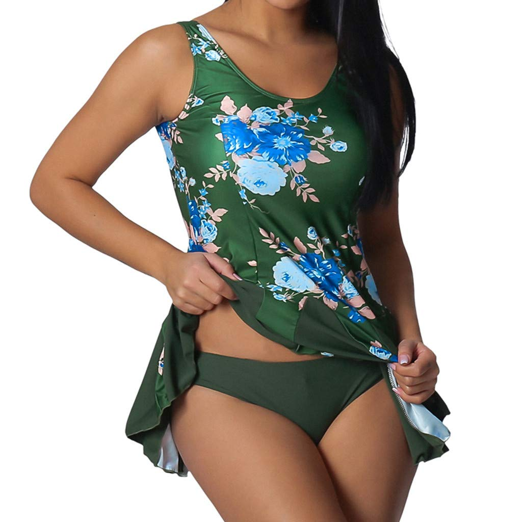 Yajiemen Womens Plus Size Tankini Top Switmsuit Swimdress Swimwear Bathing Suits Beachwear Triangle Briefs