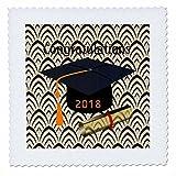 3dRose Graduation - Image of Congratulations Black Cap Orange Tassel and Diploma - 16x16 inch quilt square (qs_266450_6)