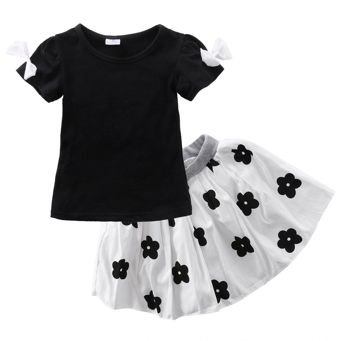 Little Girls Short Sleeve Bowknot T-shirt and Flower Pleated Skirt Outfit