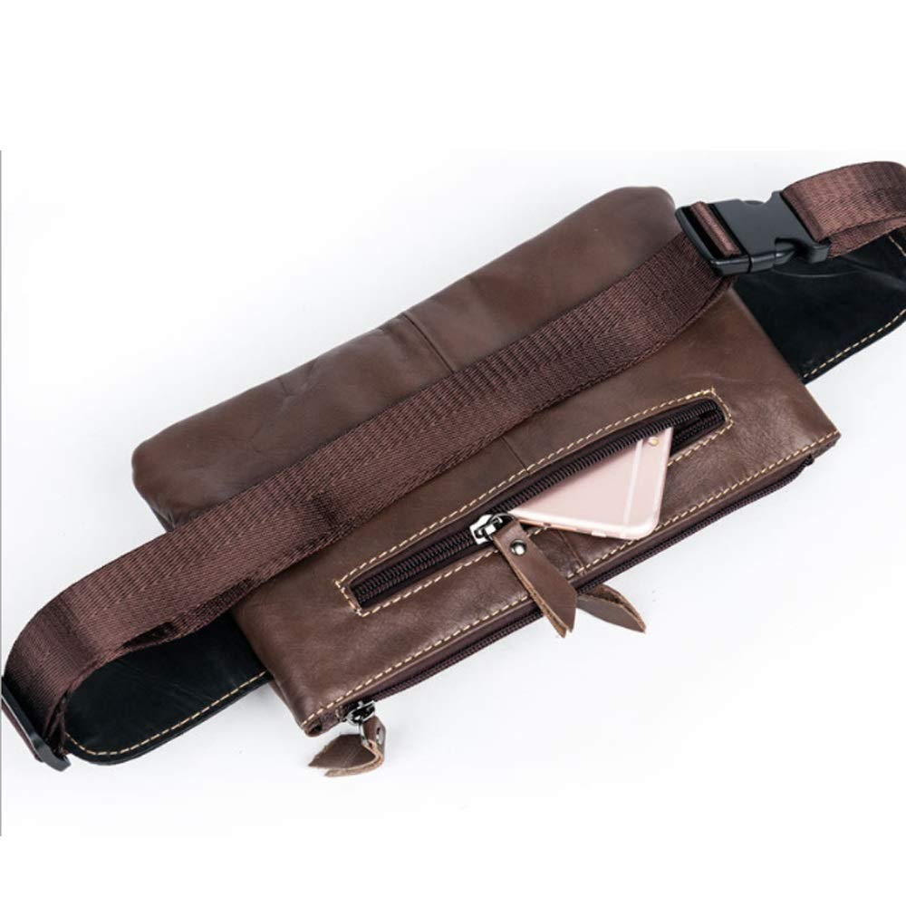 Color : Brown, Size : M Mens Chest Bag Multi-Function Leather Pockets Sports Cycling Leather Shoulder-Slung Sports Bag
