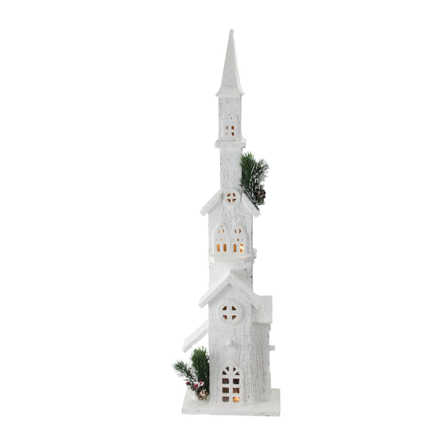 Northlight 27.5'' LED Lighted White Wooden Snowy Church with Tower Christmas Decoration