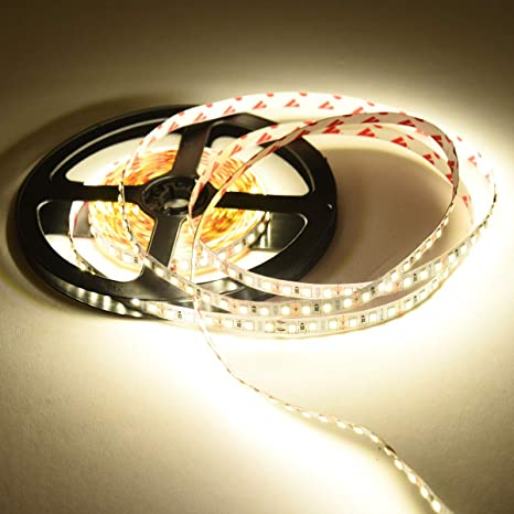 Strisce Led Impermeabili.Striscia Led 4000k Luce Bianca Naturale 16 4ft 5m Smd2835 600led Ip20 Non Impermeabile Strisce Led Dc12v Led Strip Alimentazione 12v Non Include