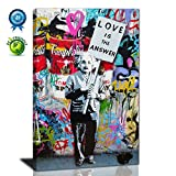 yes we can poster - Graffiti Art,Love Is The Answer Large Wall Art Colorful Banksy Street Art Abstract Modern Canvas Prints Painting Framed Art Ready to Hang for Living Room Bedroom Wall Decoration (24inx36in)