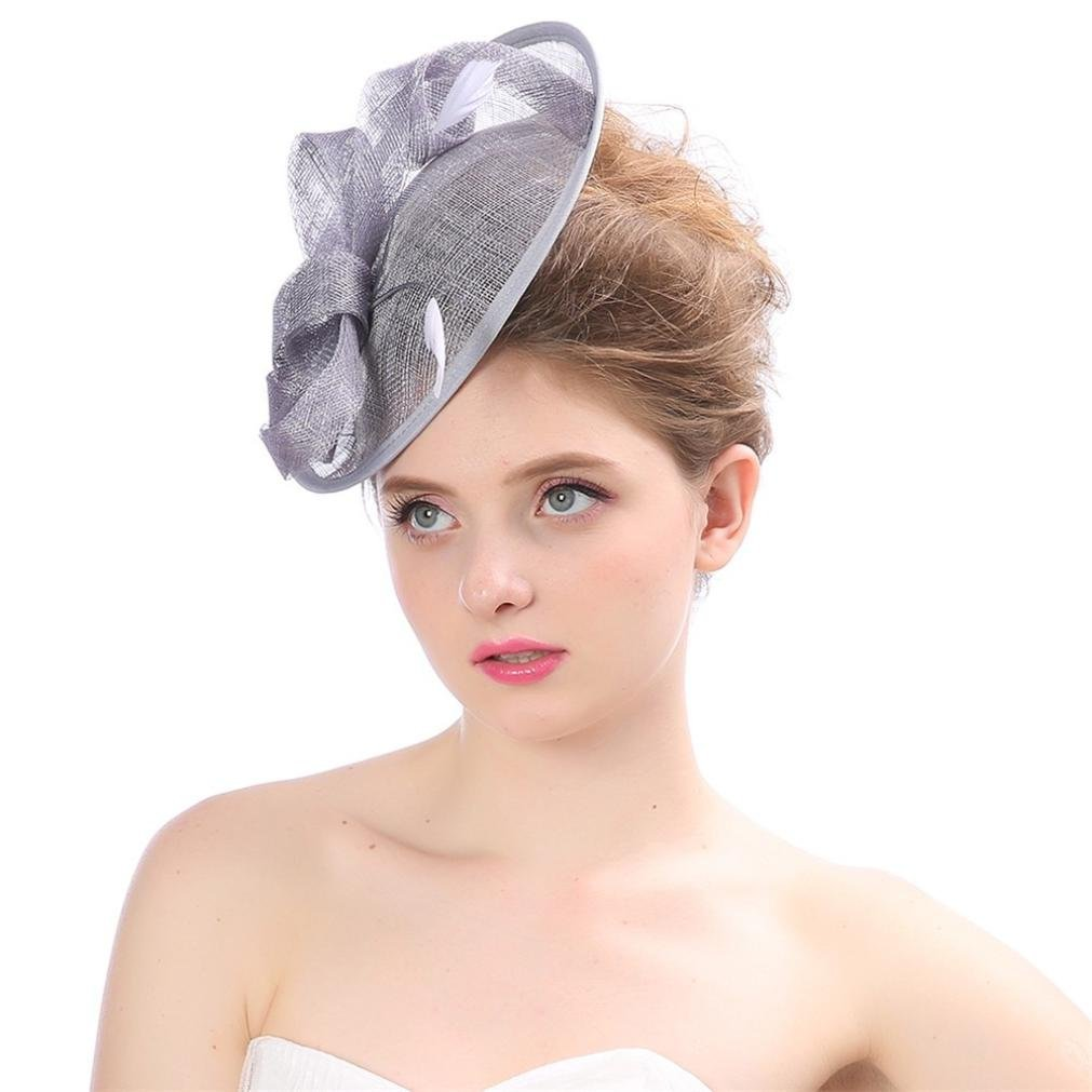 Fashion Wedding Women Fascinator Penny Mesh Hat Ribbons and Feathers Party Hat Beige