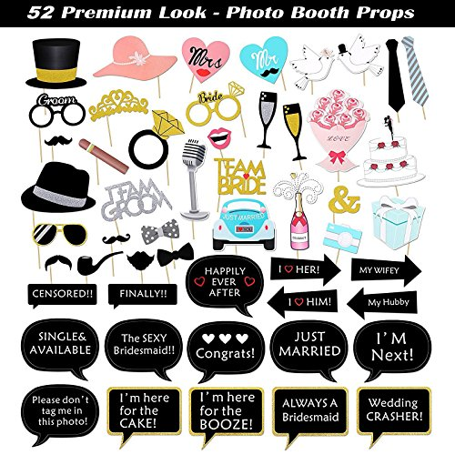 Kotbs 52pcs Wedding Photo Booth Props, Bachelorette Party Photo Booth Prop Kit for Bridal Shower, Engagement and Valentines Party, Photobooth Props Wedding Party Supplies by KOTBS