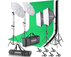 Neewer 2.6M x 3M/8.5ft x 10ft Background Support System and 800W 5500K Umbrellas Softbox Continuous Lighting Kit for Photo St
