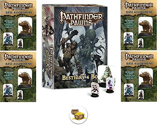 BUNDLE of Pathfinder Bestiary 4 Pawns Box and 4 Base Assortment Packs plus a Treasure Chest Button