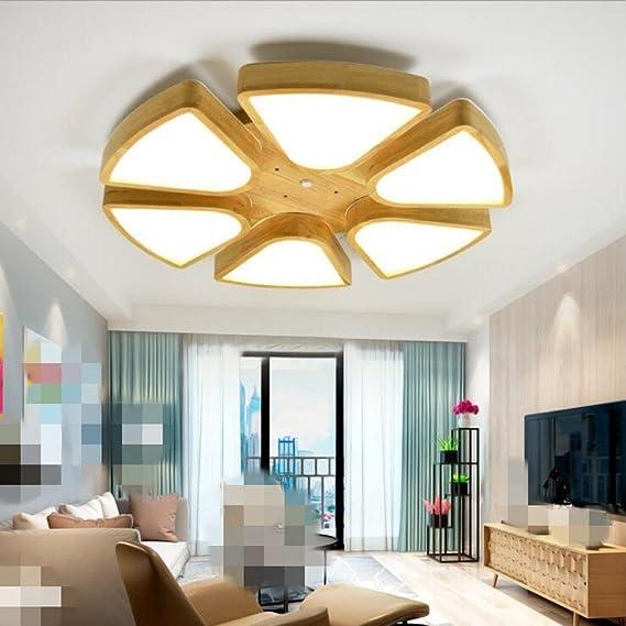 Lámpara LED de techo Nordic geométrica creativo madera plafón ...