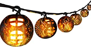 Xmas Decorations Lights Outdoor Christmas Lights String Lights,24ft 8sets Large Size LED Flame Globe Ball Lights   Plug in Powered Lights with 4 Lighting Modes Decorative for Party