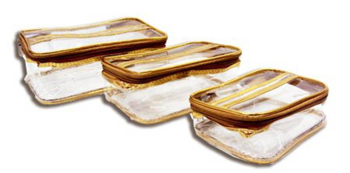 3 PC Travelling Kit Multi Purpose Utility Cosmetic Bag Toilet Organiser Medicine - Golden BIG