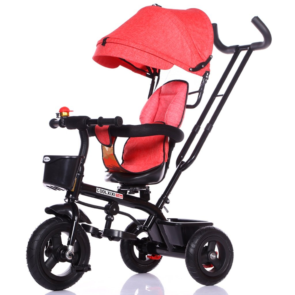 HAIZHEN マウンテンバイク 子供の三輪車カーボンスチールフレーム自転車1-5歳のショックアブソーバーチタンの空ホイールベビーベビーカーのフロントとリアのバスケットロータリーシートサンシェインの日よけの赤ちゃんキャリッジ 新生児 B07DL5FM4Z 4 4