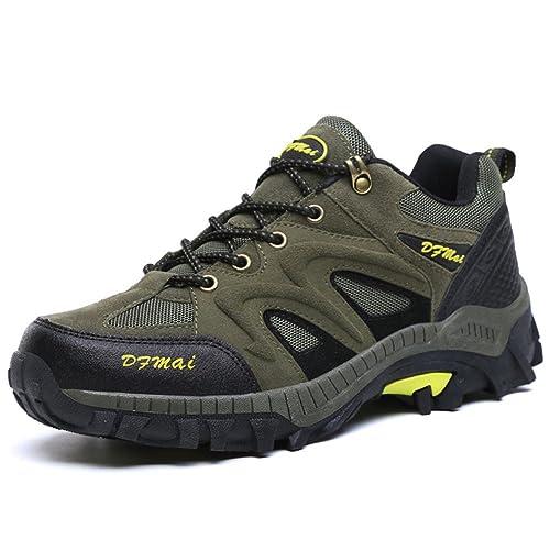 Impermeable Antideslizante Hombre Zapatos de Trekking Calzado de Protección, Army Green, 39