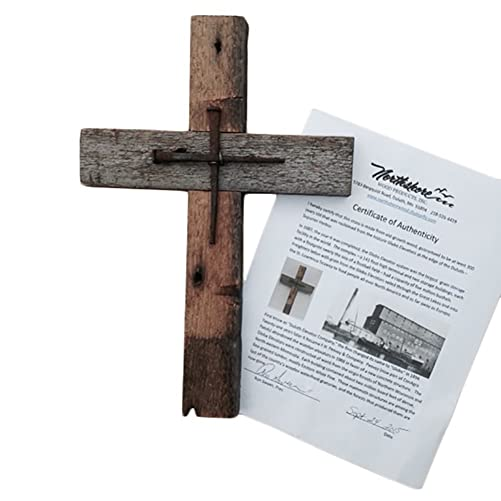 Wall Cross Reclaimed Wood with Rustic Nails for Home or Church.