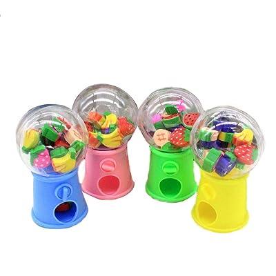 Gomas de borrar de dibujos animados para máquina de huevos trenzados de frutas, varios colores, gomas de borrar en la parte superior, paquete de 1 botella (color al azar): Hogar