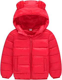 Hzjundasi Bambino Ragazze Ragazzo Tute da Neve Felpa con Cappuccio Orecchie Carine Piumino Inverno Addensare Cappotto per 1-8 Anni ChildWarm8jds