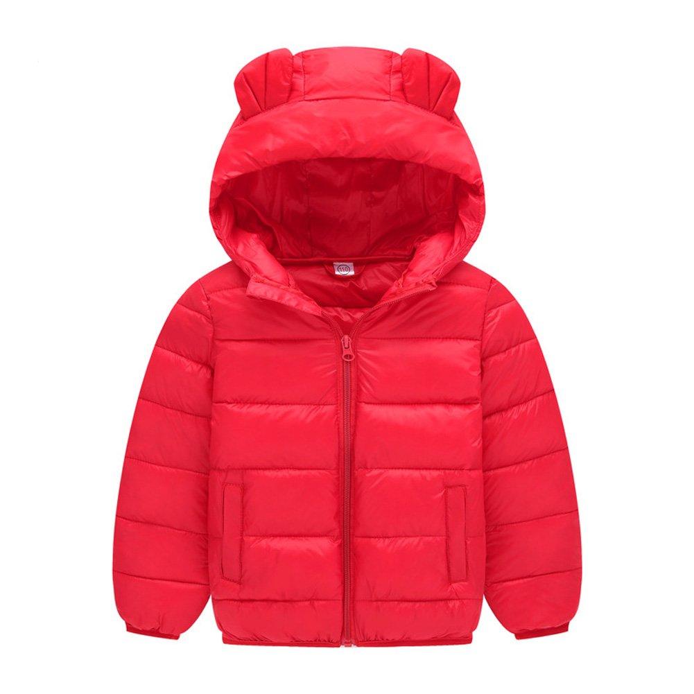 Deylaying Bambino Ragazze Ragazzo Tute da Neve Felpa con Cappuccio Orecchie Carine Piumino Inverno Addensare Cappotto per 1-8 Anni