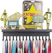 Sport Trophy Medal Ribbon Hanger Display Holder Rack with Trophy Shelf,Award Medal Display Rack and Trophy She