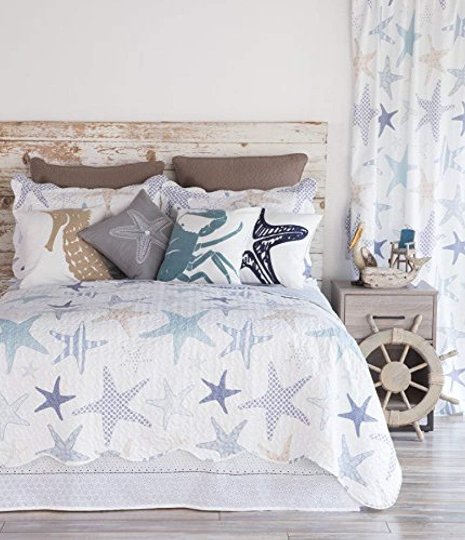 North End Decor Starfish Reef Coastal Quilt, King 3-Piece Bedding Sets, 110