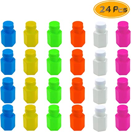 100 x Mini Neon Bubble Wands Assorted Colours Star At Top