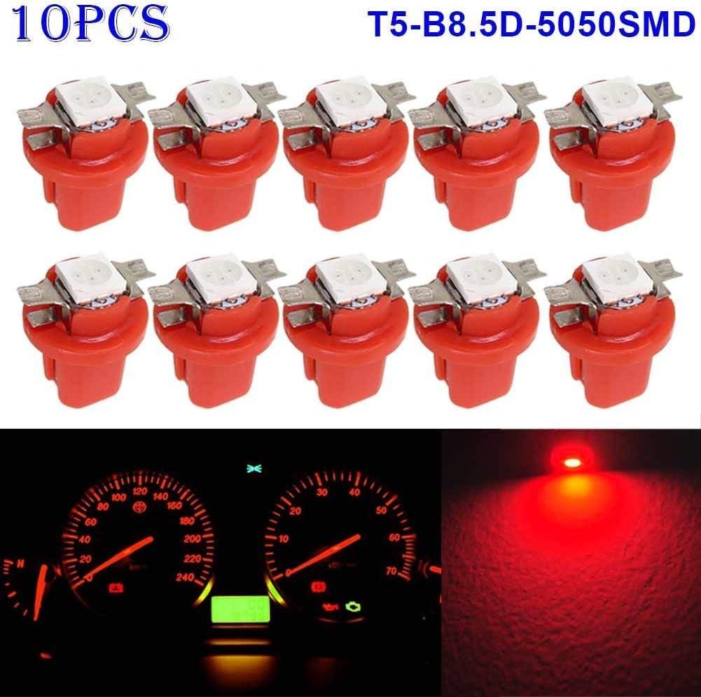 Starmood 10pcs T5-B8.5D-5050smd LED SMD Lampe Auto Messger/ät Geschwindigkeit Armaturenbrett Birne Armaturenbrett Instrument Licht 12V Rot