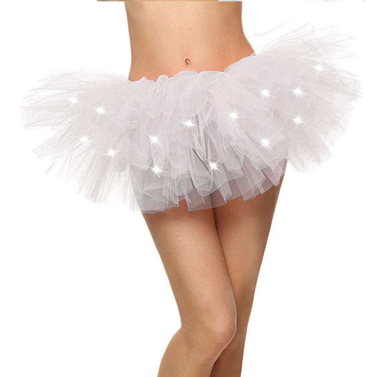 ThunderCloud Women's Light-up Fairy Lights Ballet LED Tutu Skirt,LED_White
