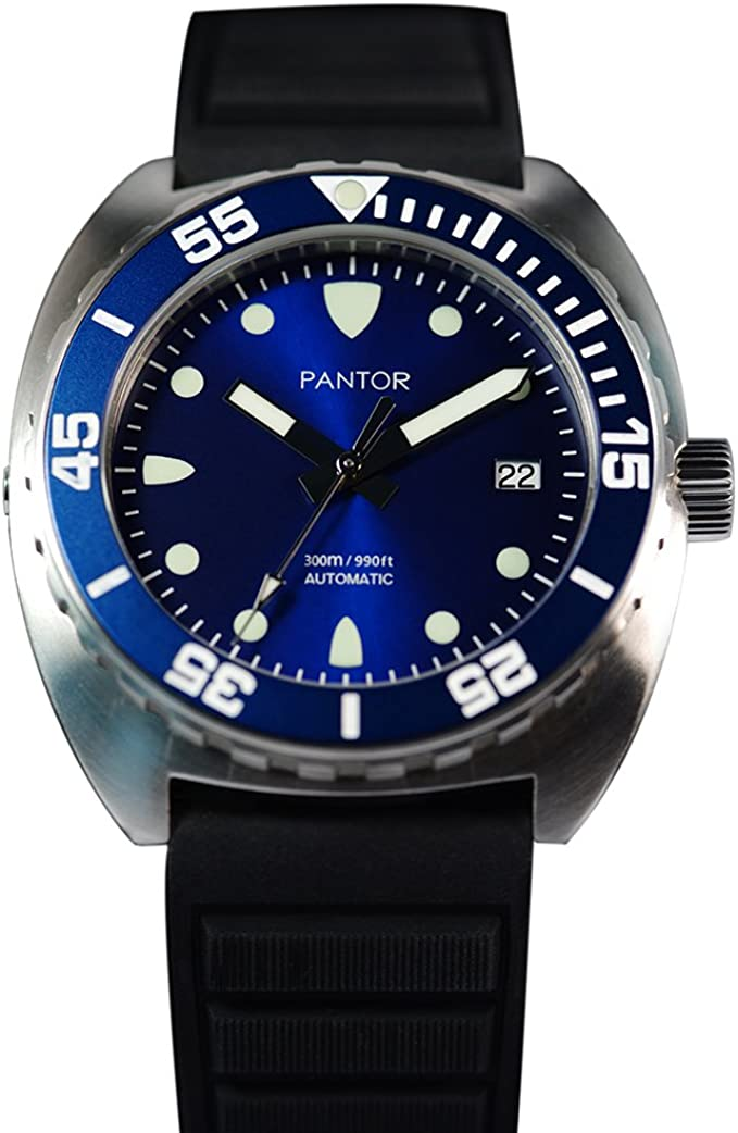 Mens Watches Pantor Sealion 300m Pro Automatic Divers Watches with Helium Valve Rotating Bezel Sapphire Rubber Strap & Nylon Strap