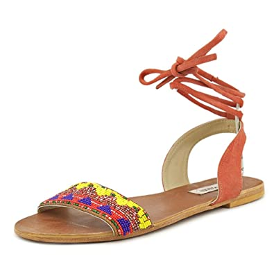 Steve Madden Women's Shaney Flat Sandal, Bright Multi, ...