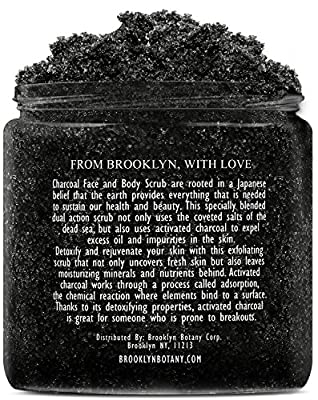 Activated Charcoal Scrub 10 oz - For Deep Cleansing & Exfoliation - Pore Minimizer & Reduces Wrinkles, Blackhead Remover & Anti Cellulite Treatment - Great Body Scrub & Facial Cleanser